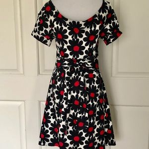 FLORAL MOD BLACK WHITE RED PARTY DRESS